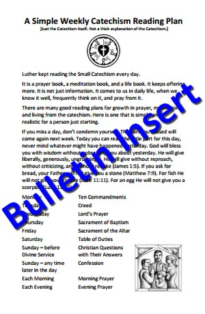 Bulletin Insert - One Simple Weekly Catechism Reading Plan