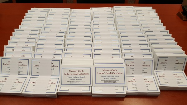 1986 CPH Translation -- 100 Sets of Small Catechism Memory Cards for Trinity