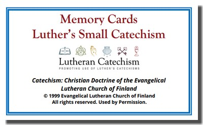 Evangelical Lutheran Church of Finland's English Text in Small Catechism Memory Cards